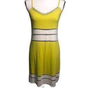 INC Cami summer dress yellow embellished medium